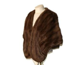 Vintage Satin-Lined Sheared Mink Fur Stole Cape Shrug