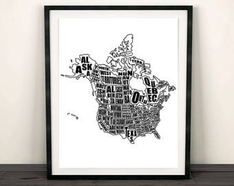 Map Of The United States Instant Download Map USA Map With - Black and white united states map