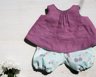Spielkleid & Bloomers * linen * 13inch/30 cm Puppen