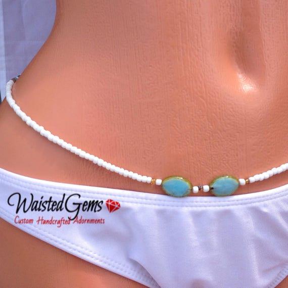 Cloudy Mornings Waist Beads, Belly Chain, Body Beads, Summer Party, Summer, beach wear, Boho Jewelry, waist beads zmw4498.9