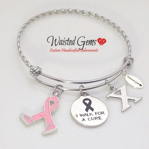 I walk for a cure Twisted stainless steel adjustable bracelet, Cancer awareness bracelet, Stainless Steel Bracelet, Charm Bracelet, zmw3341