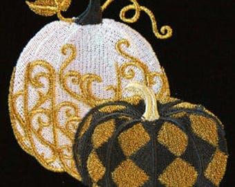 Single hand towel - harlequin masquerade designer pumpkins - EMBROIDERED bathroom towel 15 x 25 inch (38 x64 cm)