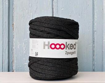 t-shirt yarn 135 yards, ecologic cotton, Zpagetti, Grey Black, recycled yarn, cotton yarn, elastic yarn