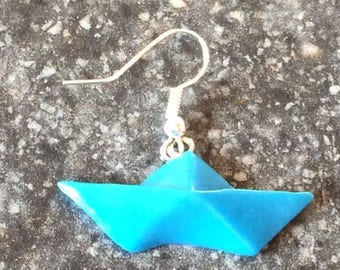 BOAT ORIGAMI BLUE TURQUOISE POLYMER CLAY EARRINGS