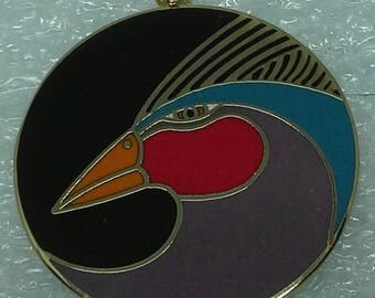 "Laurel Burch ""Harlequin Bird"" round pendant enamel and gold tone"