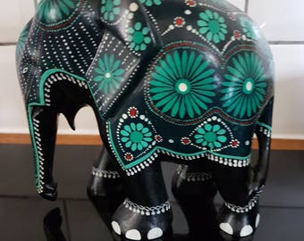 Painted wooden Indian elephant