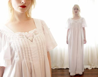 Vintage white cotton butterfly sleeve embroidered Caftan dress ethereal goddess kaftan nightgown inspired 1980s 80s