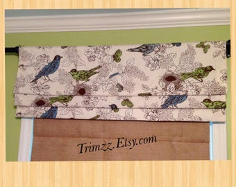 Ready To Ship........Cute Blackout Lined Bird Printed Faux Roman Shade.......Hand Made.....NEW