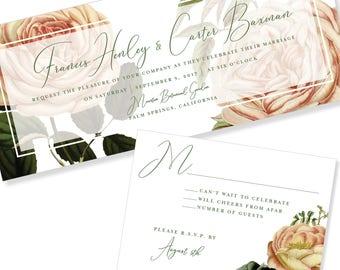 Bold Floral | Unique Shape | Horizontal Wedding Invitation | DIY Option Available | Invitation | RSVP | Info Card #1211