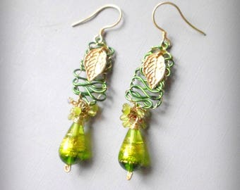 Earring beads Murano green and gold, copper green and gold