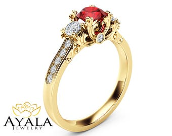 Natural Ruby Natural Diamonds Engagement Ring 14K Yellow Gold Ring Unique Victorian Engagement Ring