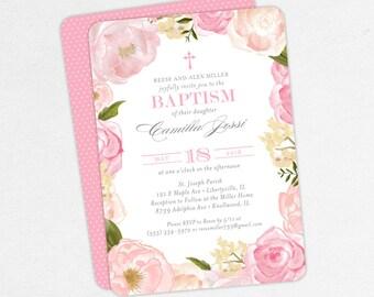 Baptism Invitation, Christening Invitation, Girl Baptism, Printable Baptism Invitation, PDF, Floral, Watercolor Flower, Cross, Pink, Camilla