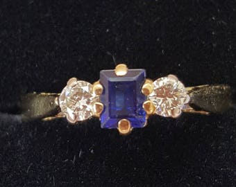 Vintage Rectangular Sapphire and Diamond 3 Stone Ring, Brilliant Cut Diamonds, Engagement or Dress Ring