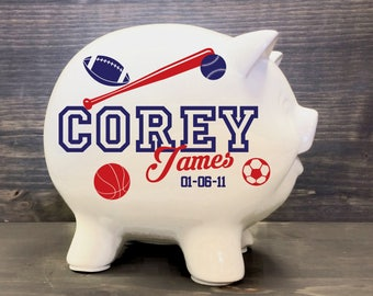 Sports bank etsy sports piggy bank with custom name for baby gift sport theme nursery basketball ceramic negle Gallery