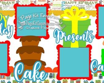 Scrapbook Page Kit Birthday Cake Presents Candles Boy Girl 2 page Scrapbook Layout Kit 23