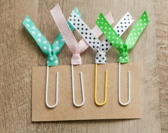 Polka Dot Paperclips - Ribbon Paperclips - Party Favors - Planner Supplies - Planner Paperclips - Set of 4 Paperclips - Paperclip Bookmark