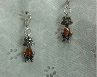 Silver Toned Flower and Butterfly Dangle Earrings