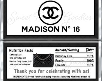 SWEET 16 Birthday Chocolate Bar Wrappers - CHANEL Party Candy Bar Wrap - Custom CHANEL Sweet Sixteen Candy Wraps