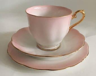 Royal Albert Rainbow Vintage Teacup Teaset Trio 1950s in Pink English Bone China Trio