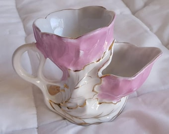 Antique Pink and White Floral shaving cup mug Porcelain German Foam Bowl