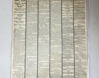 Lincoln assassination 1865 New York times April 15, 1865 repro