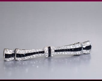 Antique Vintage Art Deco Platinum, French Cut Onyx and Diamond Bar Pin Brooch - P 416S