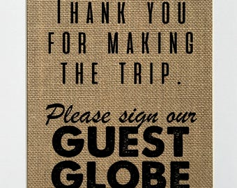 """BURLAP - """"Thank you for making the trip Please Sign Our Guest Globe"""" Party Decor Sign Guestbook welcome table rustic 5x7 8x10 sign No Frame"""