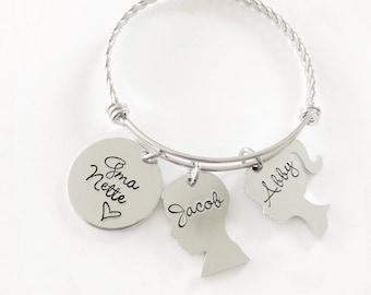 Mother's Bracelet - Mother's bracelet - Child silhouette - Family bracelet - Mommy jewelry - Hand stamped  bracelet - Mothers Day