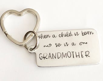 Gifts for Grandma- Hand stamped keychain - Grandmother keychain - Personalized keychain - New Grandmother - Gift for grandchild