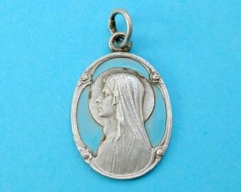 French, Antique Religious Pendant. Saint Virgin Mary. Bernadette Soubirous Lourdes. Blue Enamel. Medal Art Deco Flowers. 170720 2 D
