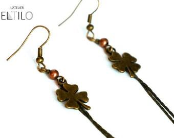Lucky charm Earrings: four leaf clover / / handmade earrings