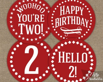 Red 2nd Birthday Cupcake Toppers - Red White 2nd Birthday Toppers - Printable Two Year Old Party Decorations - 2nd Birthday Decor IMPR
