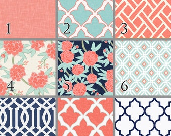 Paeonia (Baby Bedding) Coral Mint Navy Floral Trellis Premium Crib Bedding. Floral Baby Bedding. Toddler Bedding. Choose your Design.