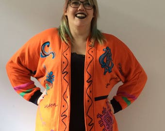 Bright Orange Patterned Cardigan Sweater Large Thick Warm Winter Sweater Unique Graphic Sweater