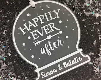 Happily Ever After | Personalised Tree Decoration | First Christmas as | SnowGlobe | Snow Globe Decoration | Christmas Tree Decoration |Gift
