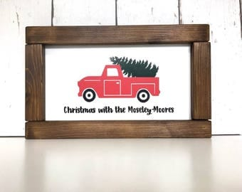 Personalised Christmas Sign | Christmas With The Sign | Christmas At The Sign | Christmas Tree Car|Christmas Tree | Framed Sign |Pallet Sign