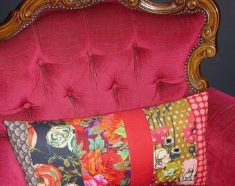 'Bohemian flowers on your couch' patchwork Cushion cover 56 x 30 cm