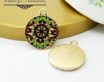 4 Kaleidoscope charms - Bohemiam  Charms, Flower Pendant - mult Flower -  Glass style, Gold Tone, Pendant charms, mandala charms, CTBH14