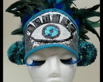 The Observer Turquoise Glitter Pom Pom Feather Festival Headdress