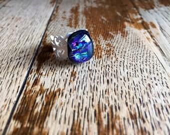 Glass filigree ring, white boho ring, blue ring, boho chic ring, purple ring, glass fusion ring, gift for her, present for women