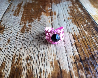 Pink ring black stone crystal filigree one size fits most boho bohemian ethnic uk shop seller