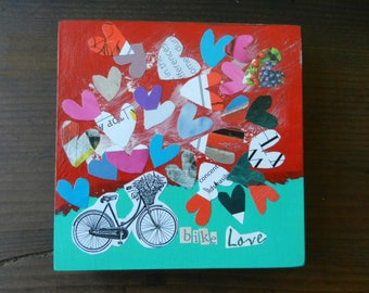 Bike Love - Small Wood Collage