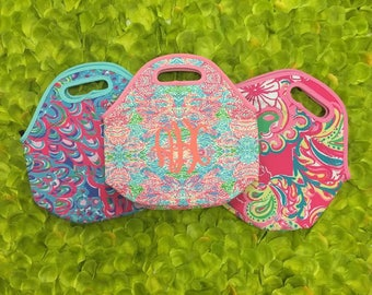 Neoprene Lilly Pulitzer Inspired Lunch Box, Lunch Tote, Lunch Bag