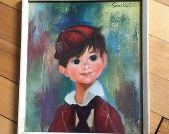 Vintage 1960s Soulet School Boy Framed Art Print!