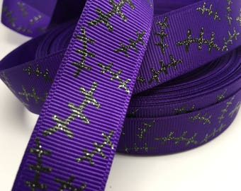 "3 yards 7/8"" Halloween Monster Scar Glitter grosgrain on purple"