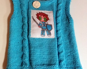 tank top knit baby blue Knight 6 month birth gift