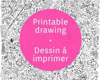 Printable graffiti sheet, ink plume abstract graffiti pattern to print
