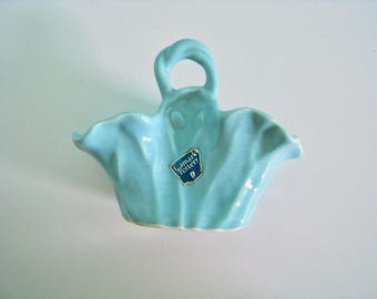 Camark pottery basket. Aqua blue pottery ceramic basket vase with label. mid century collectible art pottery. camark 138