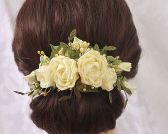 Ribbonwork Accessory Bridal Hair Accessory Corsage Millinery Roses in Light Yellow with Vintage Stamens, Crystals