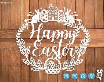 Happy Easter Svg, Wreath Svg, Easter Bunny Svg, Rabbit Svg | Home Cut File | Family | Eggs svg | Cricut, Silhouette cut file | Home Decor